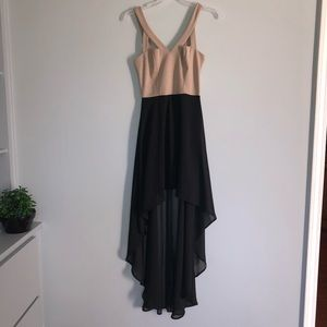 Lulu's High- Low Black Tan Sleeveless Dress